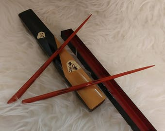 Vintage Japan lacquer wood chopsticks with matching case black and red, enameled details and distinction to this set