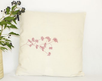 Embroidered ecru square cushion / cushion in natural canvas / tree pattern hand embroidered / ecru and Red pillow / cushion with zip