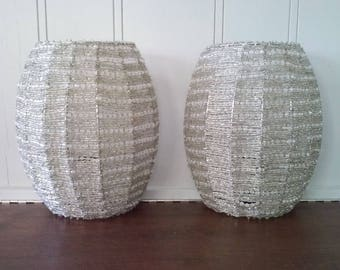 Pair of clear glass beaded wall sconces