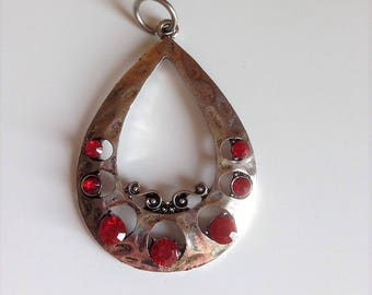 Bag drop red pendant with Rhinestones