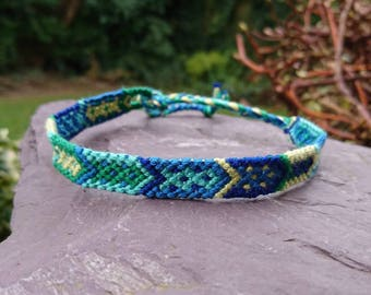 Blue and Green Arrow Anklet/Armband, Macrame Anklet, Macrame Armband, Woven Anklet, Woven Armband, Tribal Anklet, Tribal Armband, Arrow