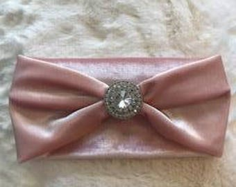 Pink velvet headband with bling