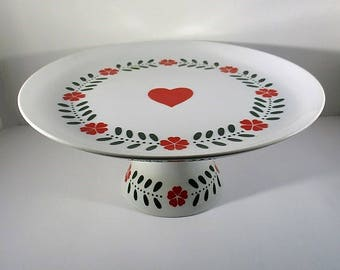 Vintage Lillian Vernon Cake Stand, Pedestal Plate, White Ceramic with a Red Heart & Flowers, Scandinavian Style, Made in Japan, 1980's