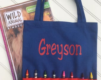 Personalized Crayon Bag - Crayon Tote - Kids Tote bag - Kids Travel bag - Activity Bag for Kids - Activity Bag - Travel Bag for Kids - Gift