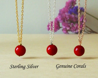 Red Coral Necklace, Gold Red Coral Charm, Rose Gold Genuine Coral Jewelry, Sterling Silver Coral Necklace, Single Coral Necklace
