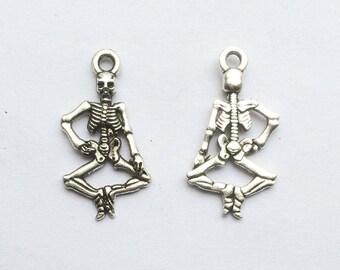 set of 5 Silver skeleton charm 14x25mm