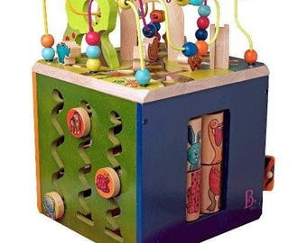 Wooden Activity Cube B. Zany Zoo B Toys Zany Wooden Animals Shapes Colors Activity Learning Cube Zoo Toddler