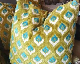 Aqua and Lime Throw Pillows - Down Filled - Raised Chenille - Jewel Tones - Elegant Pillows - Fun Pillows - Bright Pillows