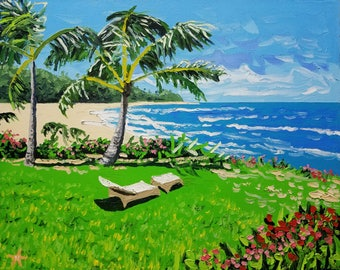 Palm tree painting, abstract beach art, seascape oil painting on canvas, by Ryan Kimba