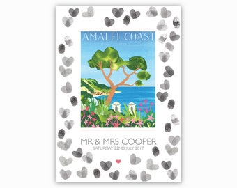 GUESTBOOK Amalfi Coast, Italy - A3 print on 5mm foamboard. Alternative guestbook board, Amalfi Coast wedding, Ravello, tree guestbook, blue.