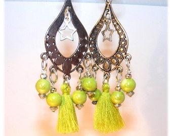 Earrings dangling # candlesticks # tassels # # jewel designer # gift # lime green ceramic beads
