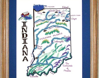 Cross Stitch Chart Pack--Stte of INDIANA