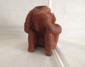 Red Clay Figurine of Man Holding His head ~ Central or South American Indian