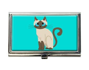 Cute Siamese Cat Business Credit Card Holder Case