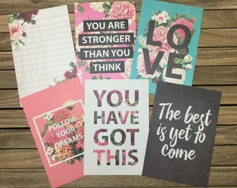 Journal/Project Life inspired Cards, 6 cards scrap booking memory keeping bullet journal travelers notebook