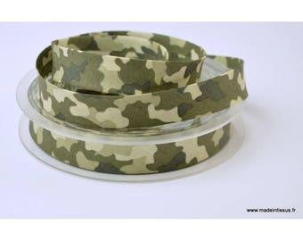 Biais replié 18 mm coton imprimé camouflage Kaki
