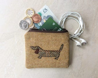 Coin purse, small pouch, British wool tweed with dachshund dog
