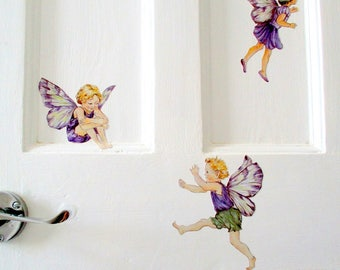 Flower fairy wall decals, fairy wall stickers, fairy bedroom decor, girls room, fairy decor, fairy wall sticker, nursery decor, purple fairy