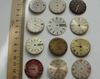 12 pieces. Watch Face Dials, From Old Watch Parts, For Steampunk Altered Art Gear, or ScrapBooking