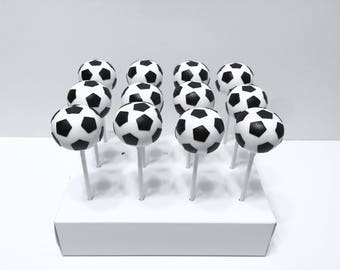 12 Soccer ball cake pops, soccer themed party, cakepops, sports themed party, soccer cake pops, soccer party, soccer birthday
