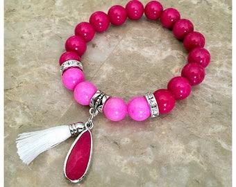 Boho Bracelet, Pink Bracelet, Tassel Bracelet, Tassel Jewelry, Charm Bracelet, Beaded Bracelets, Stretch Bracelet