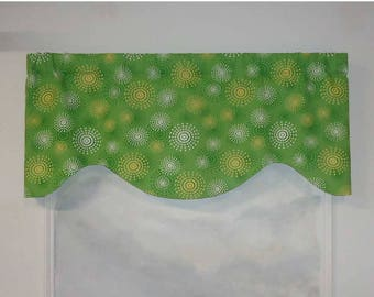Contemporary Apple Green Dots Valance