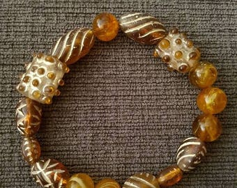 Brown and Amber stretch bracelet