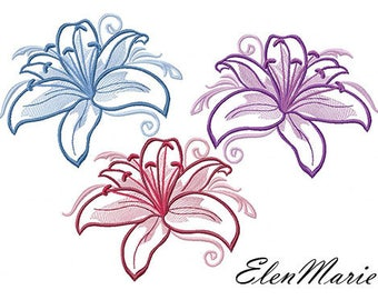 Fl 010 Lily 5*7, 6*8 - Machine Embroidery Design