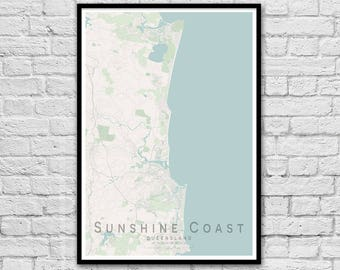 Sunshine Coast QLD City Street Map Print | Wall Art Poster | Wall decor | A3 A2