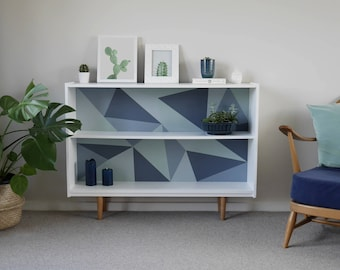 Mid Century Display Shelving Bookcase. Upcycled & Painted with Grey Blue Geometric Triangle Design