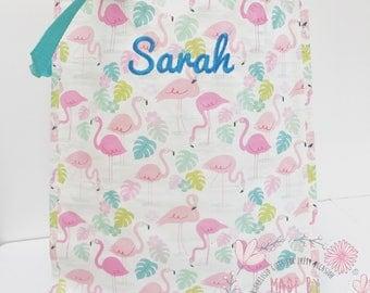 Personalised flamingo ladies tote bag, shopping bag, laptop bag, changing bag, book bag.