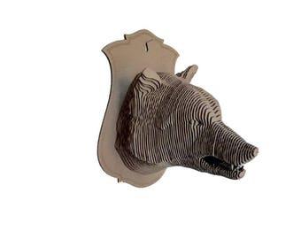 Cardboard wolf trophy head