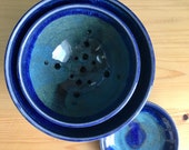 Pottery berry bowls, handmade fruit bowl, blue pottery, neating bowls, summer pottery gift, ceramic colander, strainer bowl