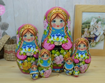 Nesting dolls, Russian matryoshka, Granddaughter gift, Hand painted art doll, Girl birthday gift ideas, Wooden babushka in golden crown