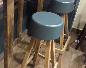 Bespoke Rustic Wooden Bar Stool Kitchen Breakfast Bar Seating