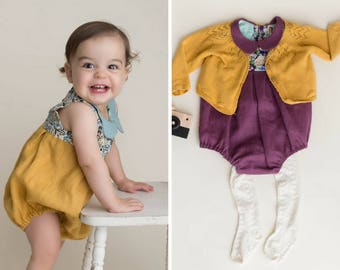 Gift for Baby Girl - Baby Girl First Birthday Outfit - Linen Bubble Romper - 1st Birthday Outfit - Peter Pan Collar - Plum Romper - Mustard