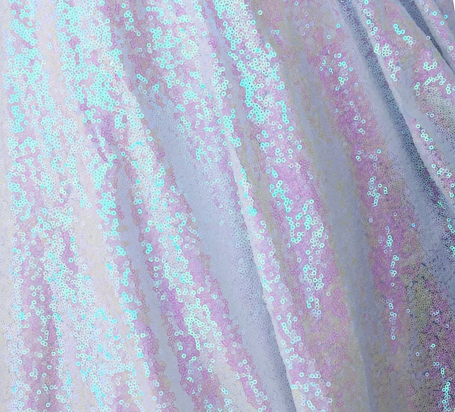 White Iridescent Sequin Fabric Glitters Sequins Fabric For