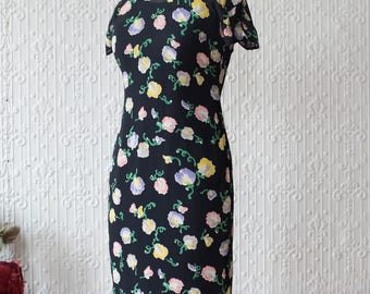 1940s Silk Floral Qipao with Lace Trim Slip
