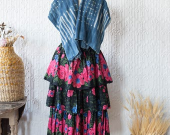 Tiered Grassland Painted Pink Floral Pleat Skirt