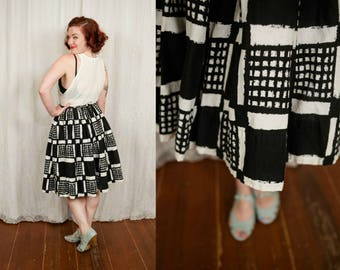 1950s Black and White Square Print Skirt - Small