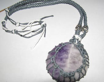 Hemp Wrapped Amethyst Pendent necklace With Buddha Accents