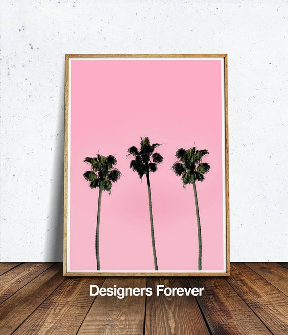 Pink Palms, plant poster, neon sign poster, printable, digital print, plant  art, neon sign art, wall art, banana leaf, pink neon