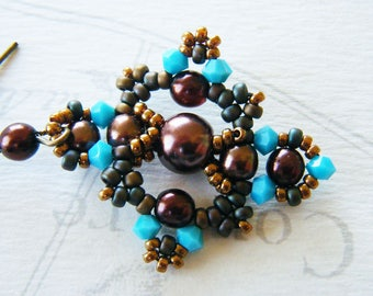Earrings woven, seed beads, chocolate pearls, turquoise Crystal bicones
