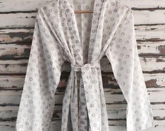 Sale *** Kiyomi Snowflake Kimono Robe Dressing Gown, 100% Cotton, Byron Bay