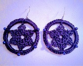 Blue flower hoop earrings, crochet and beading