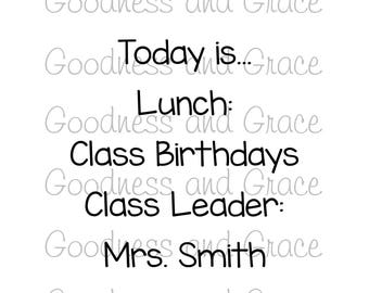 Vinyl Teacher Pack Perfect for Back to School - Decorate Your Classroom!  Today is, Birthdays, Lunch, Leader - Customize to Fit Your Needs!