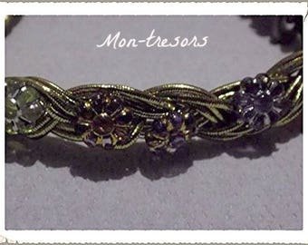 Bracelet braided gold and beaded flowers