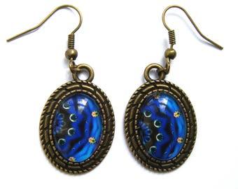 Bronze cabochon and blue mandala earrings