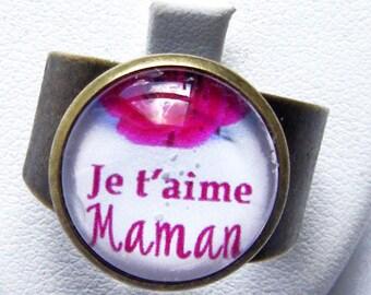 """Adjustable flower ring pink """"I love you MOM"""""""