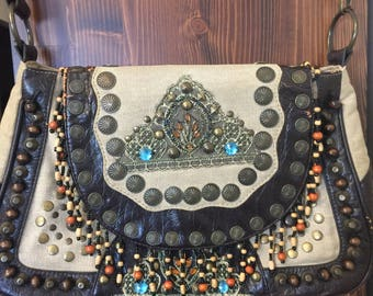 Vintage Hobo Long Strap Purse, Hippie Faux Leather Beaded Purse